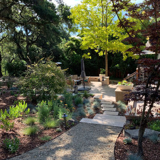 This is an example of a huge contemporary drought-tolerant and partial sun side yard gravel garden path in San Francisco.