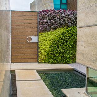 Exempel på en modern trädgård i delvis sol längs med huset, med en fontän och marksten i betong