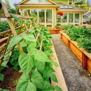 Идея дизайна: большой геометрический, солнечный, весенний огород на участке на заднем дворе в классическом стиле с освещенностью и покрытием из гравия