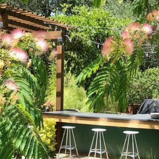 Inspiration pour un xéropaysage arrière minimaliste l'été avec une exposition ensoleillée et un gravier de granite.