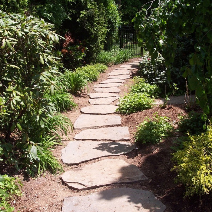 Bluestone Walkways, Natural Stone Waterfall & Paver Steps & Patios