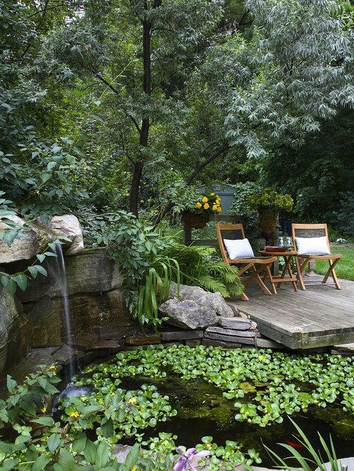 Example Of A Classic Backyard Patio Fountain Design In Toronto