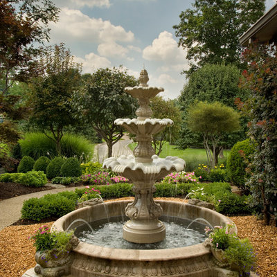 This is an example of a traditional water fountain landscape in Indianapolis.