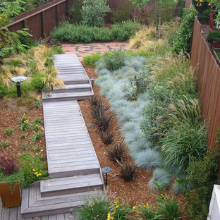 Design ideas for a mid-sized contemporary backyard landscaping in San Francisco with decking.