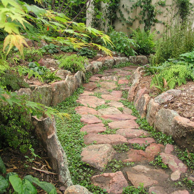 This is an example of an eclectic shade backyard stone landscaping in Los Angeles.