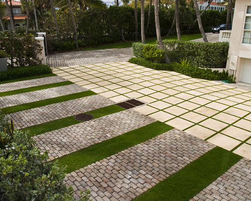 photo of a contemporary driveway in miami - Permeable Patio Ideas