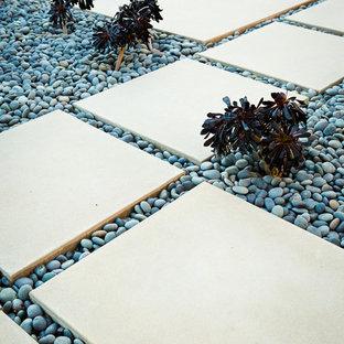 Idée de décoration pour un jardin avant minimaliste de taille moyenne avec des pavés en béton.