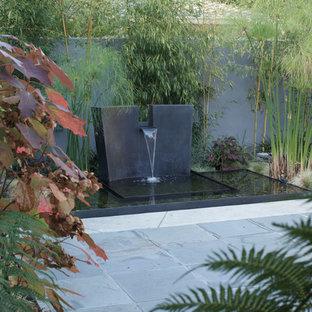 Moderner Garten hinter dem Haus mit Wasserspiel und Natursteinplatten in San Francisco