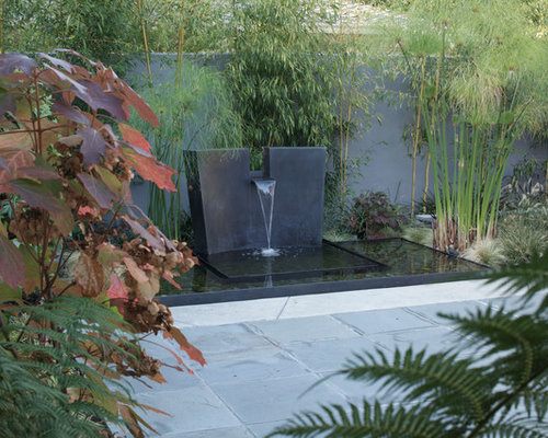 Water feature houzz for Modern pond waterfall