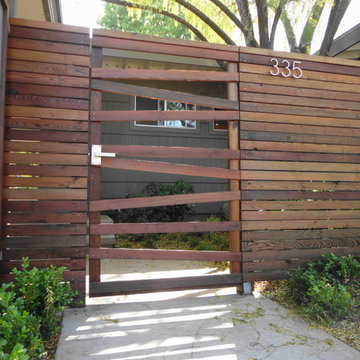 Panels framed in redwood & recycled redwood horizontal fence