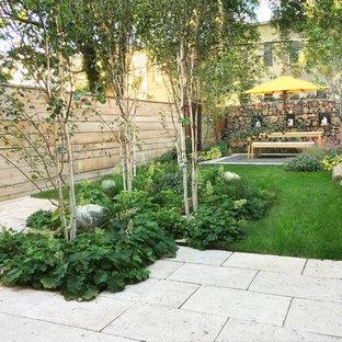 Идея дизайна: участок и сад среднего размера на заднем дворе в современном стиле с мощением тротуарной плиткой