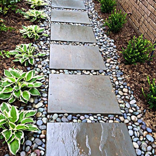 Inspiration for a mid-sized contemporary partial sun side yard stone garden path in Dallas.