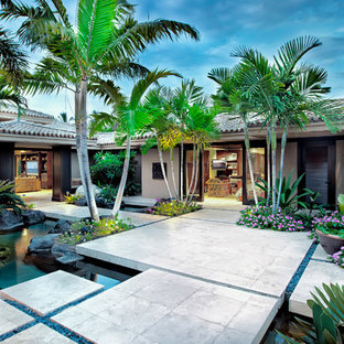 Design Ideas For A Mid Sized Tropical Shade Front Yard Concrete Paver Pond In Hawaii