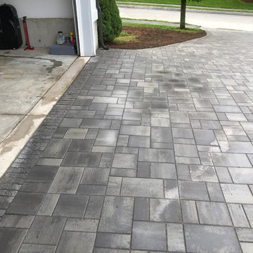 paver driveway, granite steirs permable patio