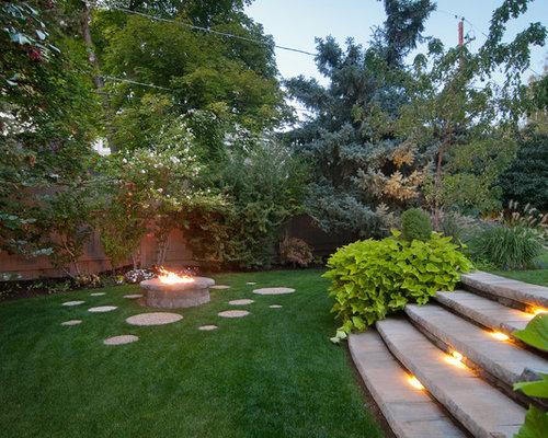 hanggarten mit feuerstelle - ideen für die gartengestaltung,