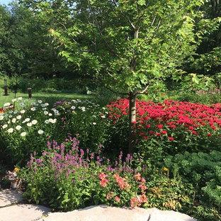 Ejemplo de jardín de secano, tradicional, grande, en verano, en patio trasero, con exposición total al sol y adoquines de piedra natural
