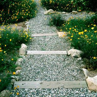 Esempio di un giardino xeriscape stile rurale esposto in pieno sole di medie dimensioni e dietro casa in inverno con un ingresso o sentiero e ghiaia