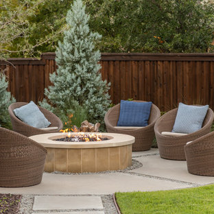 Design ideas for a large transitional full sun backyard landscaping in Dallas with a fire pit for summer.