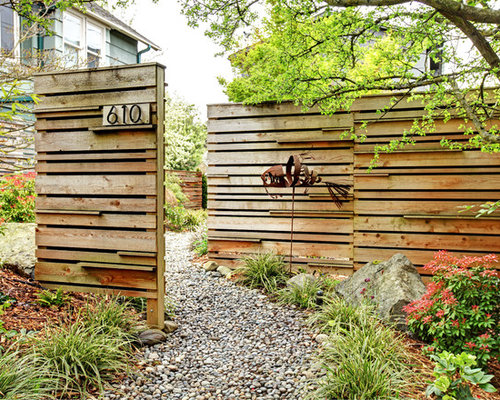 Front garden fence ideas and photos houzz photo of a contemporary front garden in seattle with gravel workwithnaturefo