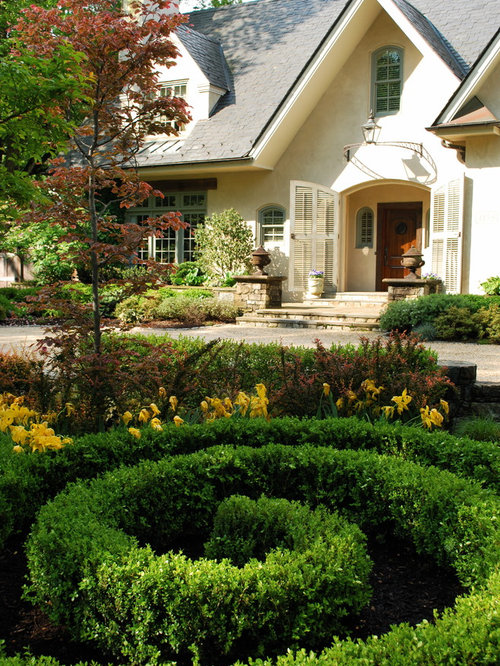 Shutter doors houzz for Formal front garden ideas