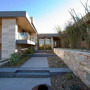 Idee per un ampio giardino xeriscape moderno davanti casa con un ingresso o sentiero
