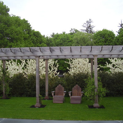 This is an example of a traditional backyard landscaping in Boston.