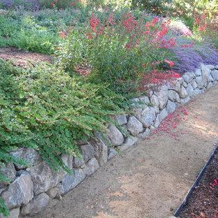 Idée de décoration pour un jardin tradition de taille moyenne et l'été avec une exposition partiellement ombragée, une pente, une colline ou un talus et un gravier de granite.