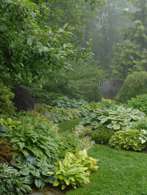 Elegant Photo Of A Traditional Shade Backyard Garden Path In Portland Maine.
