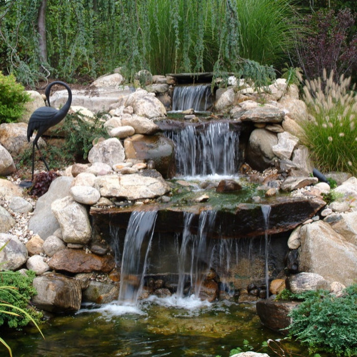 Custom Koi Pond with Natural Stone Waterfall