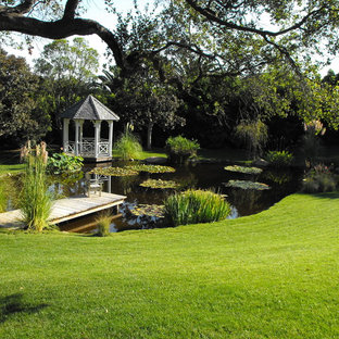 This is an example of a traditional backyard pond in Santa Barbara.