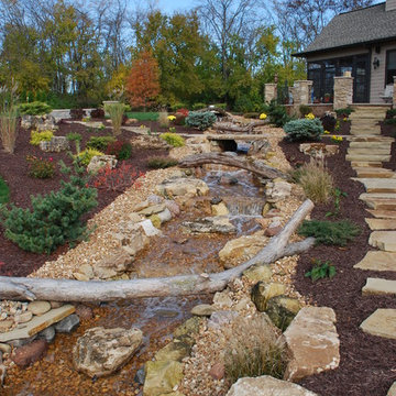 Poolscaping and waterfall