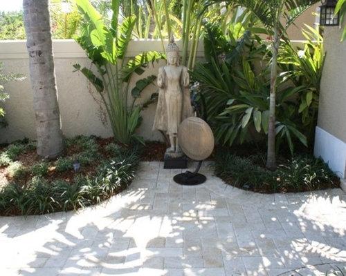 jardin asiatique avec des pav s en brique photos et. Black Bedroom Furniture Sets. Home Design Ideas
