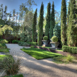 Inspiration for a mediterranean courtyard full sun garden in Austin with gravel and a garden path.