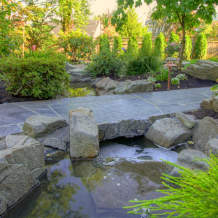 Inspiration for a traditional water fountain landscape in Portland.
