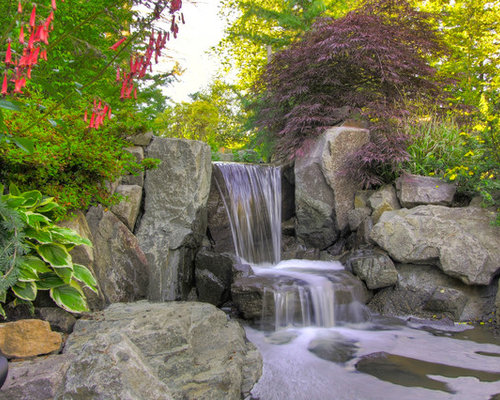 fishpond with waterfall photos