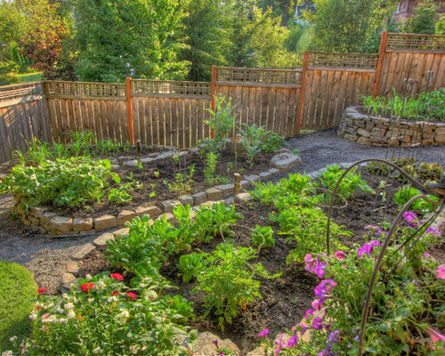 photo of a traditional landscaping in portland with a vegetable garden