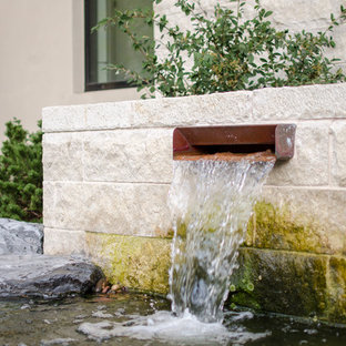 Inspiration for a large transitional partial sun backyard water fountain landscape in Dallas.