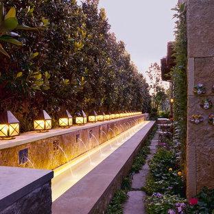 Cette photo montre un jardin latéral méditerranéen avec un point d'eau.