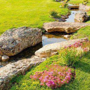 Idee per un grande laghetto da giardino rustico esposto in pieno sole dietro casa
