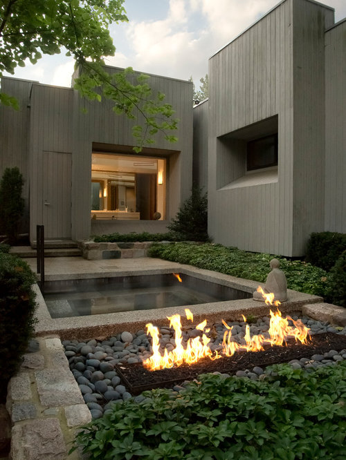 Outdoor Fireplace And Hot Tub Houzz