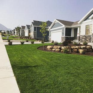 На фото: солнечный участок и сад среднего размера на переднем дворе в классическом стиле с камнем в ландшафтном дизайне, хорошей освещенностью и мульчированием