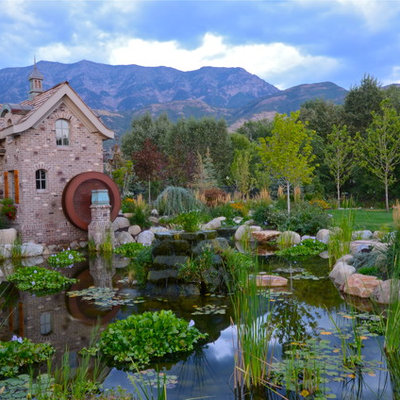 Design ideas for a traditional water fountain landscape in Salt Lake City.