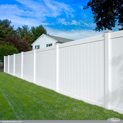 Classic Illusions White Gray And Beige Pvc Vinyl Fence