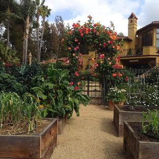 Выдающиеся фото от архитекторов и дизайнеров интерьера: большой солнечный огород на участке на заднем дворе в средиземноморском стиле с освещенностью и покрытием из гранитной крошки