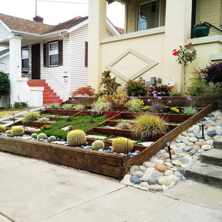 Inspiration for a mid-sized contemporary partial sun front yard concrete paver formal garden in San Francisco for summer.