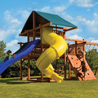 Really Big Swing Sets - Looking for a big swing set for your big backyard swing set? With its three slides and four swing stations, there are many play activities to share. This 37' wide swing set gives you a lot for the money and every kid in the neighborhood will love this one.