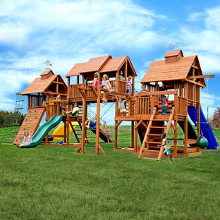 This is an example of a large traditional outdoor playset in Detroit.