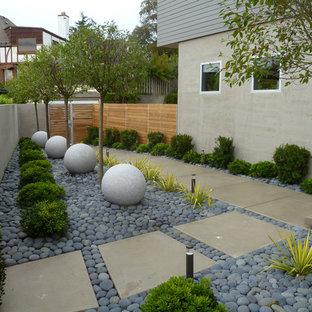 Modelo de jardín actual en patio lateral