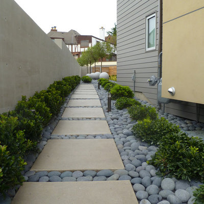 Inspiration for a contemporary side yard river rock landscaping in Seattle.