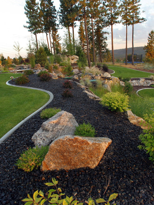 Black Lava Rock Landscaping on farmhouse living room